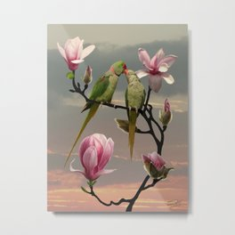 Two Parrots in Magnolia Tree Metal Print