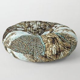 Brown Tree at Peace Floor Pillow