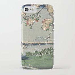 Cherry Blossoms on Spring River Ukiyo-e Japanese Art iPhone Case