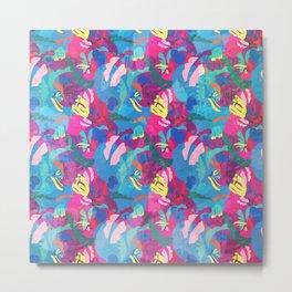 Papercut Floral in Magenta Metal Print