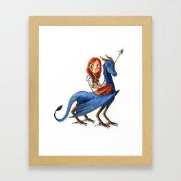 Girl and her dragon Framed Art Print