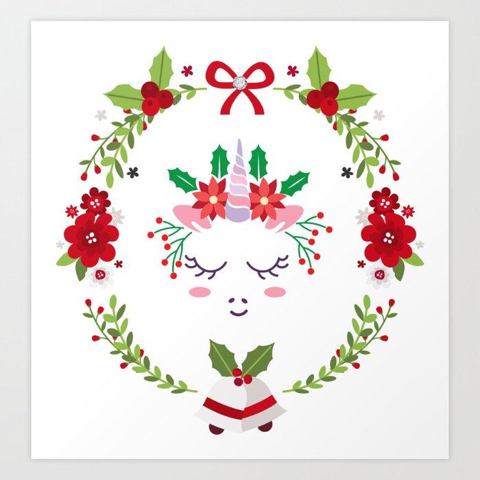 Christmas Unicorn Art Print By Debramiller Society6