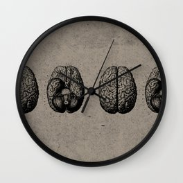 Row o' Brains - Engraving - Vintage - Old Black, White & Brown Wall Clock