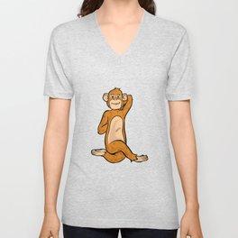 Funny yoga monkey monkeys namaste meditate zen Unisex V-Neck