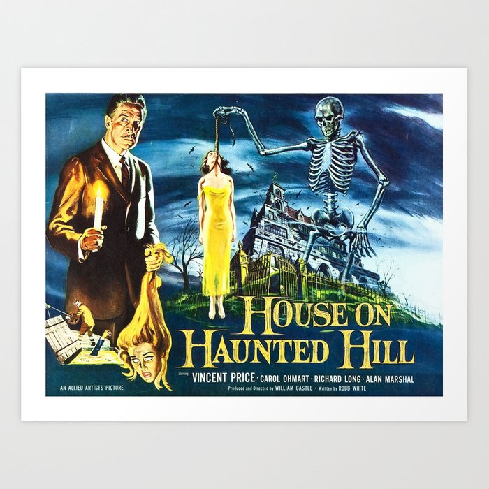 House on Haunted Hill, vintage horror movie poster Art Print by alma_design