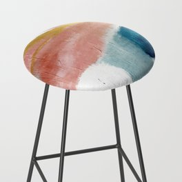 Exhale: a pretty, minimal, acrylic piece in pinks, blues, and gold Bar Stool