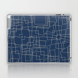 Decorative blue and grey abstract squares Laptop & iPad Skin