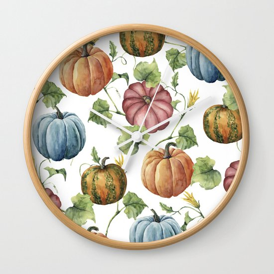 PUMPKINS WATERCOLOR Wall Clock