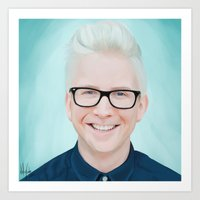 tyler oakley Art Prints featuring Tyler Oakley by kelsey cooke art