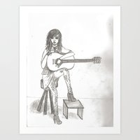 Now If Only I Could Play Guitar (sketch) Art Print