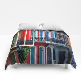 Colorful French Quarter Row Homes Comforters