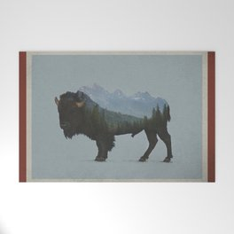 Wyoming Bison Flag Welcome Mat