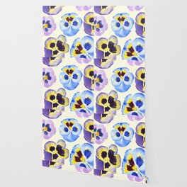 pansies pattern watercolor painting Wallpaper