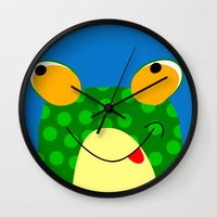 frog Wall Clocks featuring Frog by Jessica Slater Design & Illustration