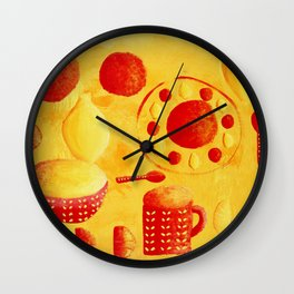 Oranges and Lemons with bowls Wall Clock