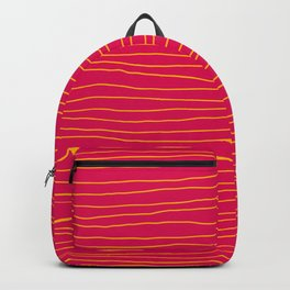 Hand Drawn Lines - Yellow / Dark Pink Backpack