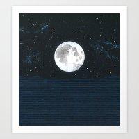 Blue Moonscape Art Print