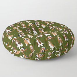 Basset Hounds on Moss Floor Pillow