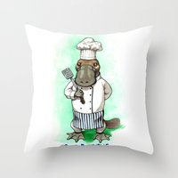 platypus Throw Pillows featuring Chef Platypus by Jessie L.P.