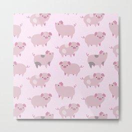 Cute Pink Piglets Pattern Metal Print