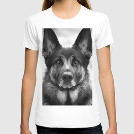 Regal German Shepherd in Black and White T-shirt