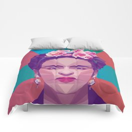 Frida Kahlo Low Poly Collection Comforters