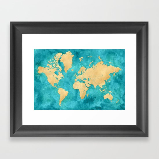 """Teal watercolor and gold world map with countries and states """"Lexy"""" by blursbyaishop"""