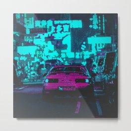 Retro Pixel Art Vaporwave Car Metal Print