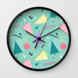 Memphis Xmas #society6 #retro #xmas Wall Clock