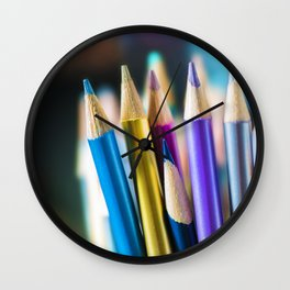METTALIC COLORED PENCILS Wall Clock