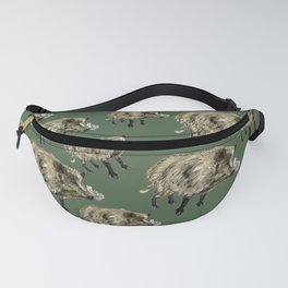 Wildboar pattern in green Fanny Pack