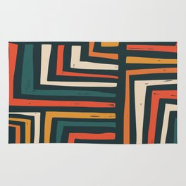 Square puzzle folk pattern Rug
