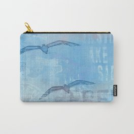 Free sea gull blue mixed media art Carry-All Pouch