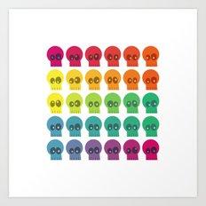 Rainbow Skullz Art Print