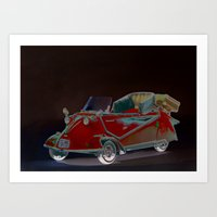 bmw Art Prints featuring BMW Messerschmitt by LoRo  Art & Pictures