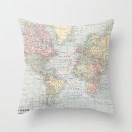 Vintage World Map (1901) Throw Pillow