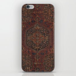 Boho Chic Dark I // 17th Century Colorful Medallion Red Blue Green Brown Ornate Accent Rug Pattern iPhone Skin