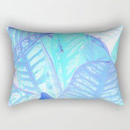 Blue Croton Tropical Leaves Rectangular Pillow