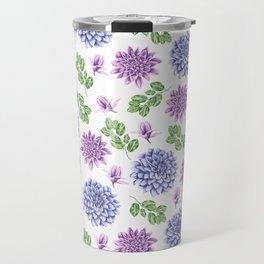 Artistic purple blue green watercolor elegant peonies floral Travel Mug