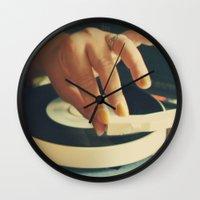 vinyl Wall Clocks featuring Vinyl by Gina Conti