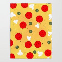 Cool fun pizza pepperoni mushroom Poster