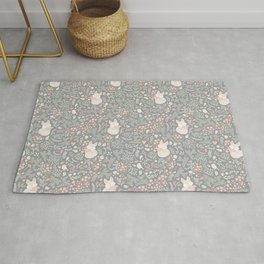 Sleeping Fox - grey pattern design Rug