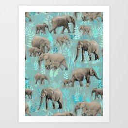 Sweet Elephants in Soft Teal Art Print