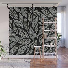 Grey Leaves Pattern on Black Wall Mural
