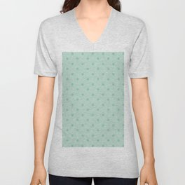 Geometric mint green modern polka dots pattern Unisex V-Neck