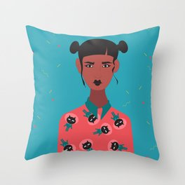Hairbuns & PrintShirts Throw Pillow