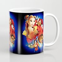 beauty and the beast Mugs featuring Beauty And The Beast by neutrone