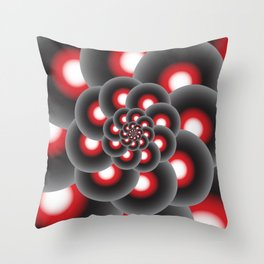Spiral Circle Flower in Red, Black and White Throw Pillow