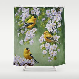 Goldfinches and Spring Apple Blossoms Shower Curtain
