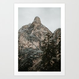 Mountain top with snow, Dolomites | Colourful Travel Photography | Dolomiti, Italy (Europe) Art Print